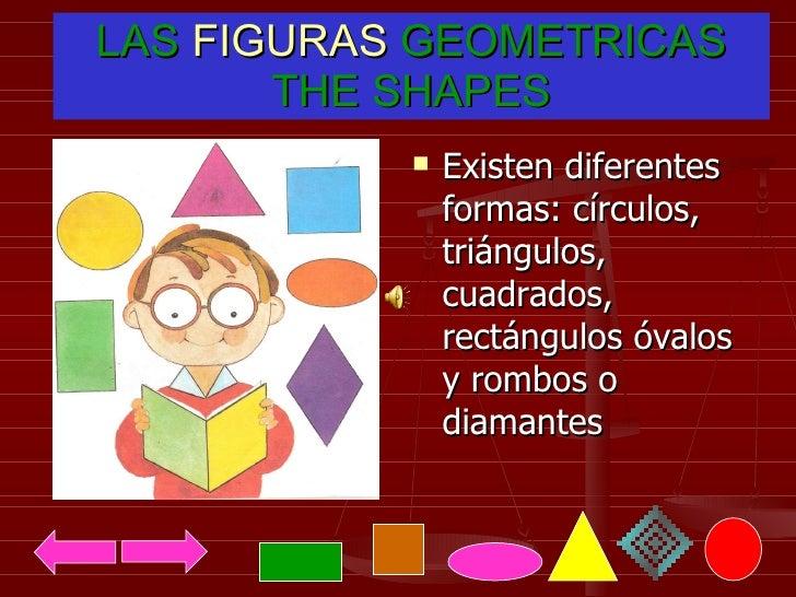 LAS  FIGURAS  GEOMETRICAS THE SHAPES <ul><li>Existen diferentes formas: círculos, triángulos, cuadrados, rectángulos óvalo...