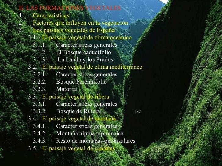 II. LAS FORMACIONES VEGETALES1.     Características2.     Factores que influyen en la vegetación3.     Los paisajes vegeta...