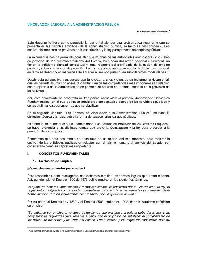 VINCULACION LABORAL A LA ADMINISTRACION PÚBLICA                                                                           ...