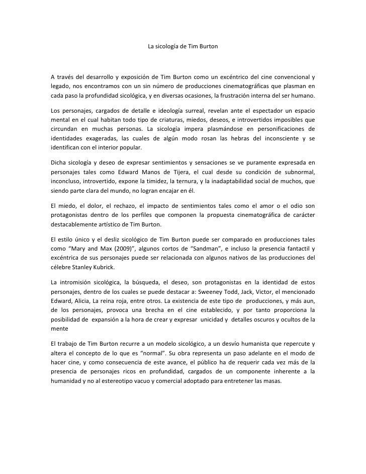 La sicología de Tim Burton<br />A través del desarrollo y exposición de Tim Burton como un excéntrico del cine convenciona...