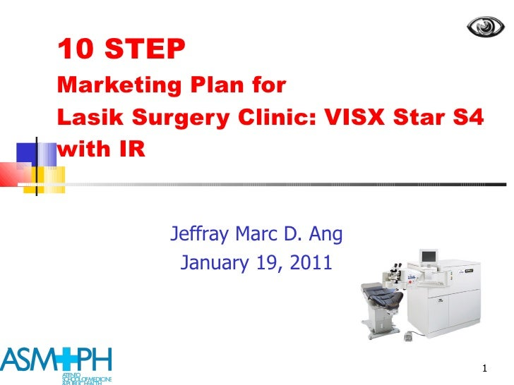 10 STEP  Marketing Plan for  Lasik Surgery Clinic: VISX Star S4 with IR Jeffray Marc D. Ang January 19, 2011