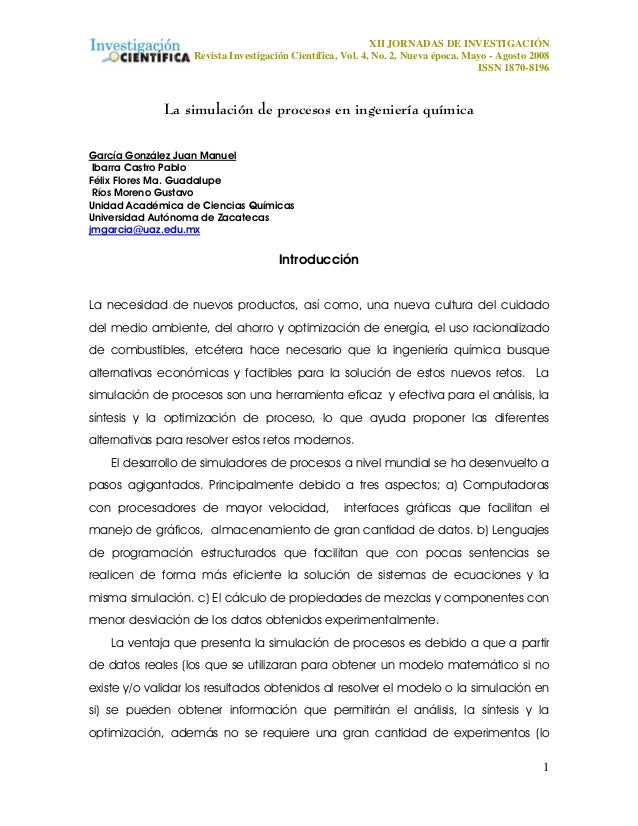 XII JORNADAS DE INVESTIGACIÓN Revista Investigación Científica, Vol. 4, No. 2, Nueva época. Mayo - Agosto 2008 ISSN 1870-8...