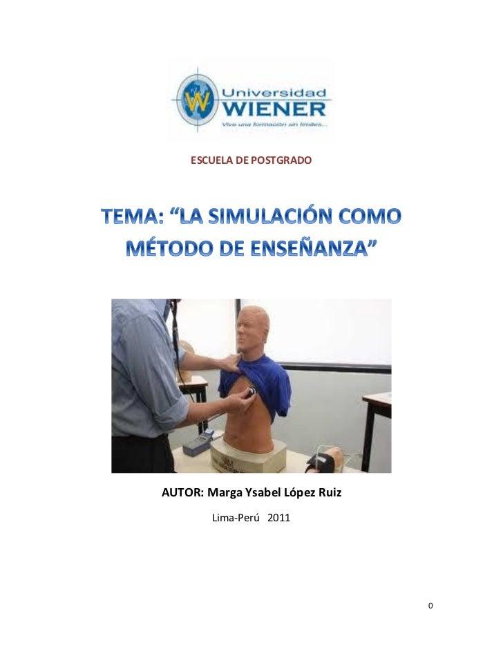 LA SIMULACIÓN COMO MÉTODO DE ENSEÑANZA