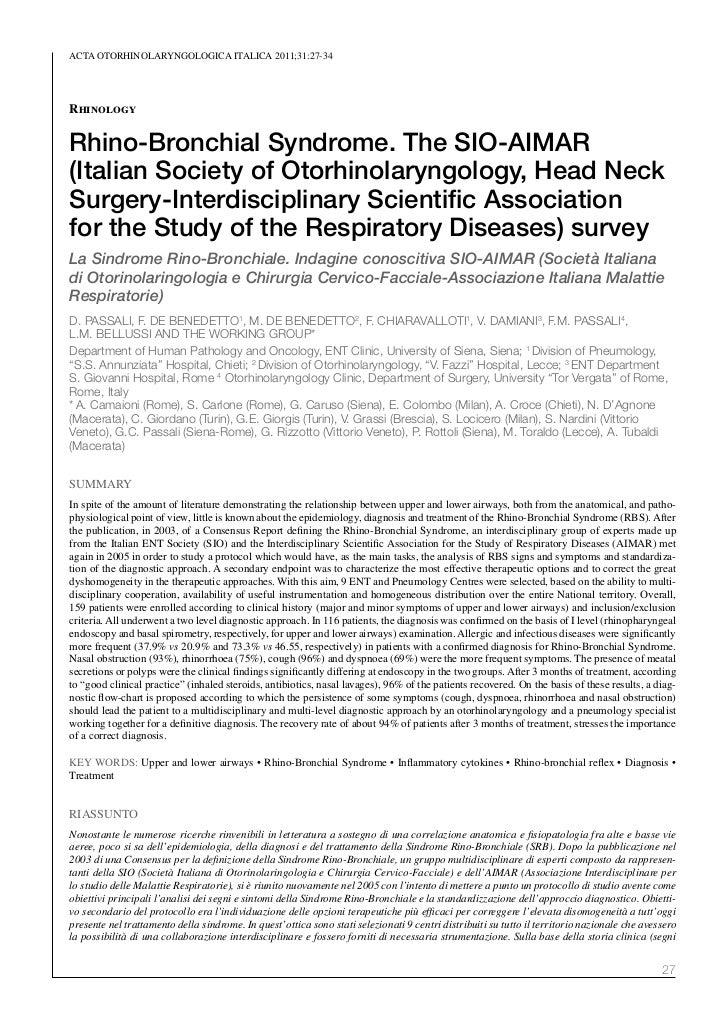 ACTA oTorhinolAryngologiCA iTAliCA 2011;31:27-34RhinologyRhino-Bronchial Syndrome. The SIO-AIMAR(Italian Society of Otorhi...