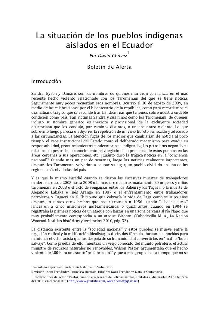La situación de los pueblos indígenas             aislados en el Ecuador                                                  ...