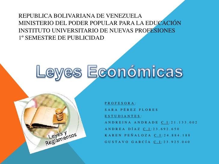 REPUBLICA BOLIVARIANA DE VENEZUELAMINISTERIO DEL PODER POPULAR PARA LA EDUCACIÓNINSTITUTO UNIVERSITARIO DE NUEVAS PROFESIO...