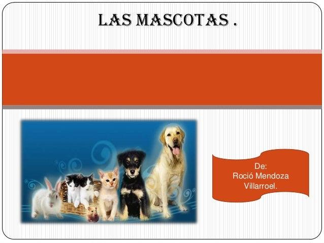 Las mascotas .                   De:             Roció Mendoza               Villarroel.