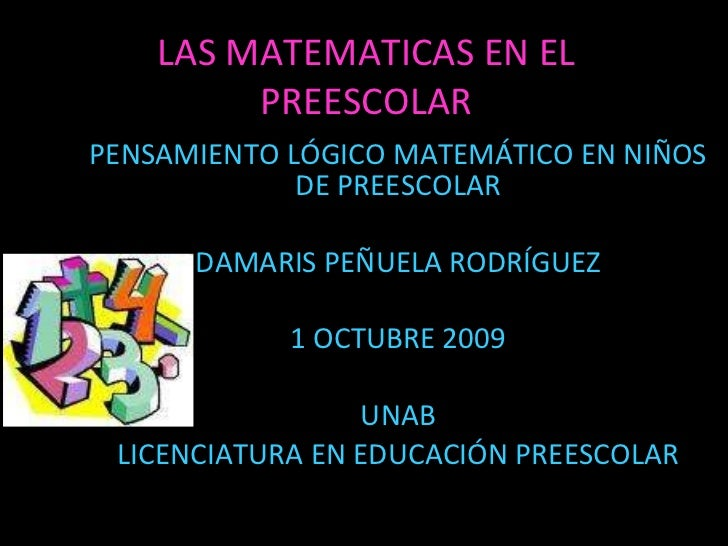 Las Matematicas En El Preescolar