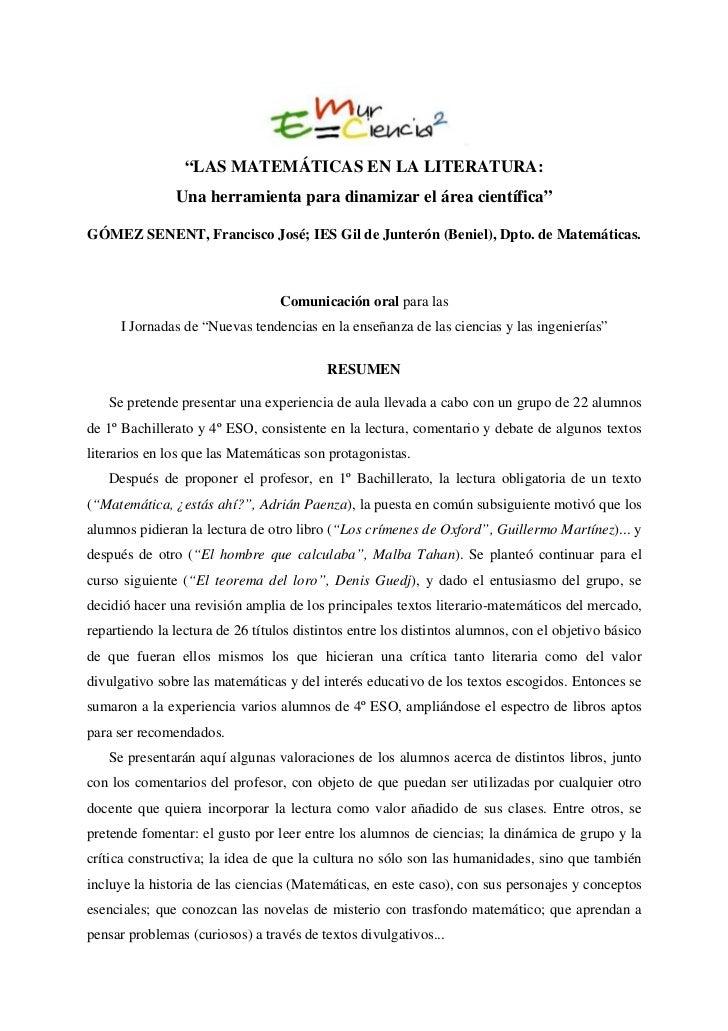"""""""LAS MATEMÁTICAS EN LA LITERATURA:               Una herramienta para dinamizar el área científica""""GÓMEZ SENENT, Francisco..."""
