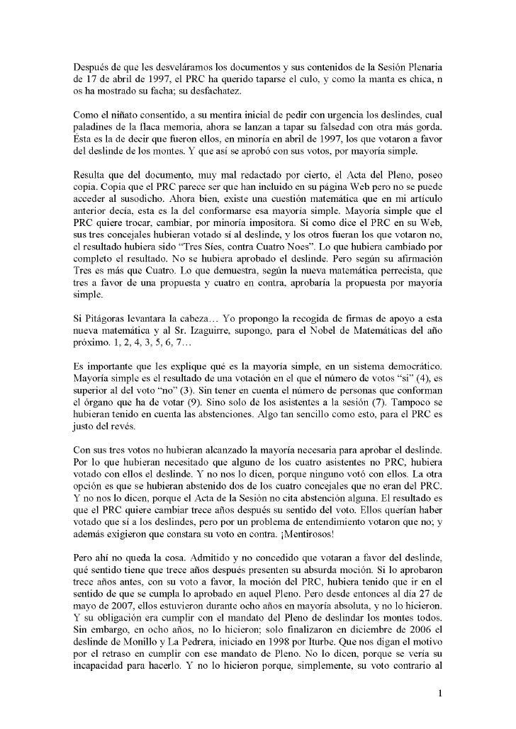 Despues de que les desvelaramos los documentos y sus contenidos de la Sesi6n Plenariade 17 de abril de 1997, el PRC ha que...