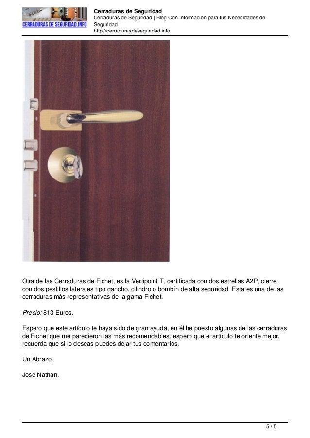 Las mejores cerraduras de seguridad de fichet - Cerraduras de seguridad ...