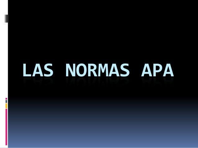 EXPLICACIÓN NORMAS APA