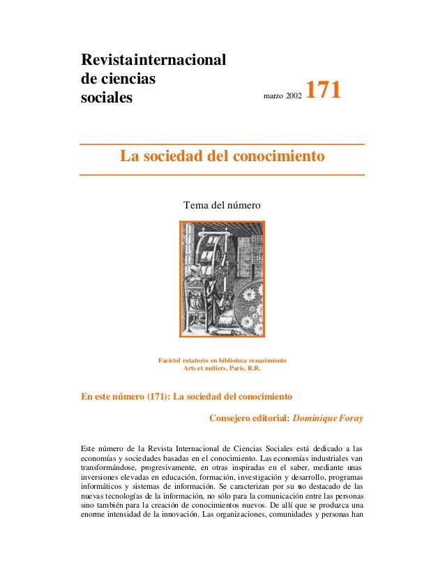Revistainternacional de ciencias sociales marzo 2002 171 La sociedad del conocimiento Tema del número Facistol rotatorio e...