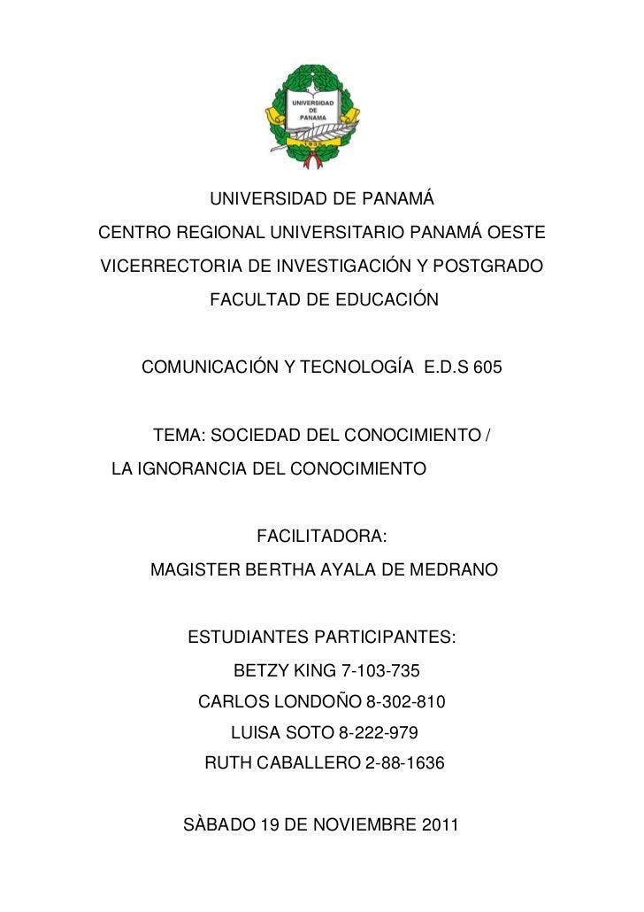UNIVERSIDAD DE PANAMÁCENTRO REGIONAL UNIVERSITARIO PANAMÁ OESTEVICERRECTORIA DE INVESTIGACIÓN Y POSTGRADO          FACULTA...