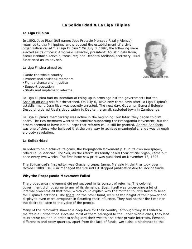 La Solidaridad & La Liga Filipina<br />La Liga Filipinaright0In 1892, Jose Rizal (full name: Jose Protacio Mercado Rizal y...