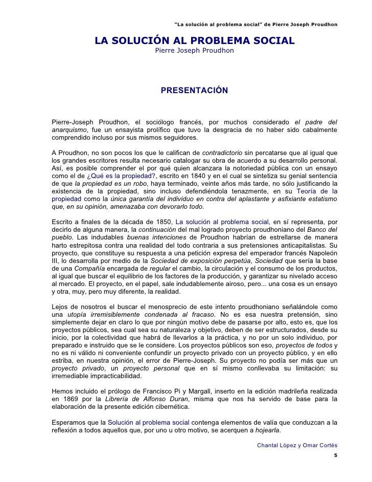 La SolucióN Al Problema Social   Pierre Joseph Proudhon