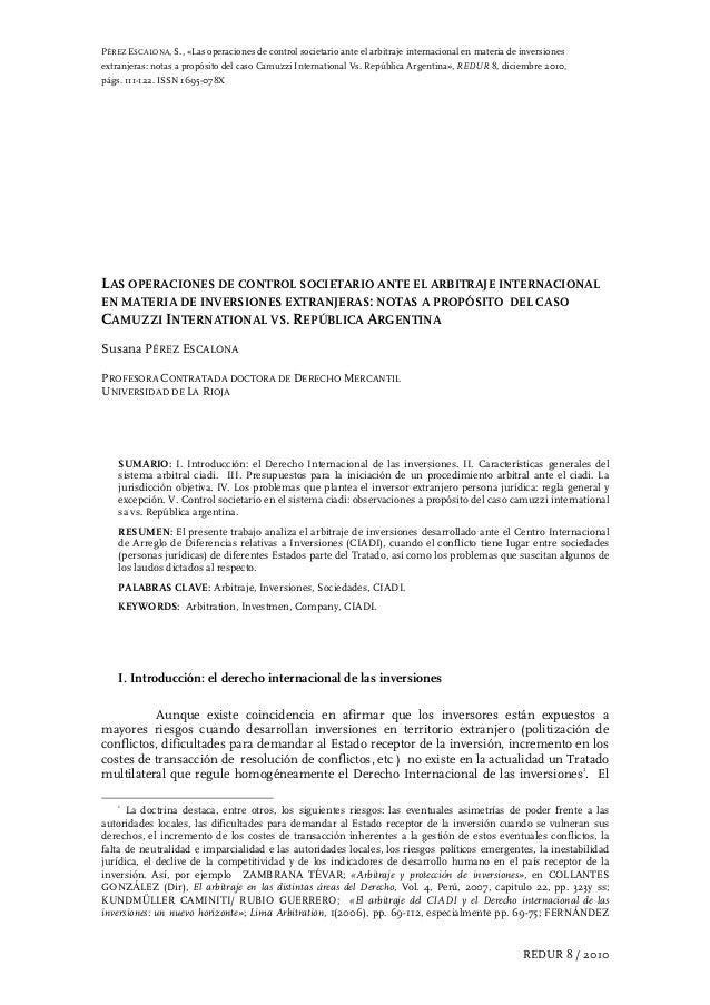 PÉREZ ESCALONA, S., «Las operaciones de control societario ante el arbitraje internacional en materia de inversiones extra...