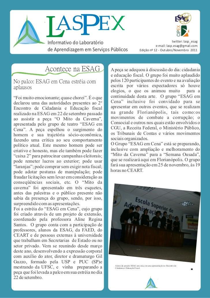 XE                  Informativo do Laboratório                                                           twitter: lasp_esa...