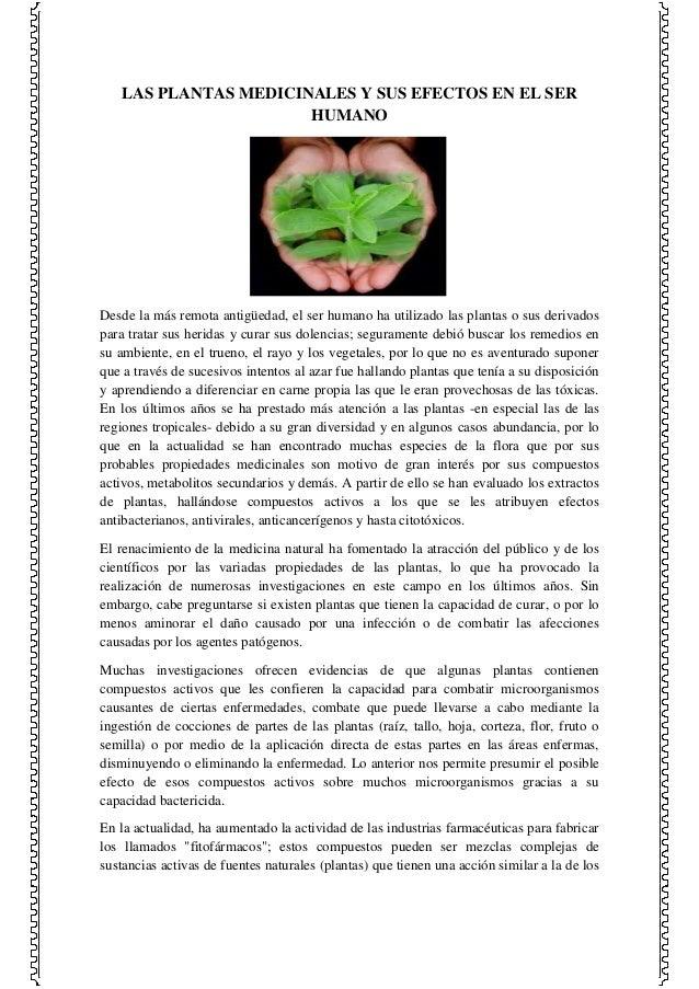 LAS PLANTAS MEDICINALES Y SUS EFECTOS EN EL SER HUMANO  Desde la más remota antigüedad, el ser humano ha utilizado las pla...