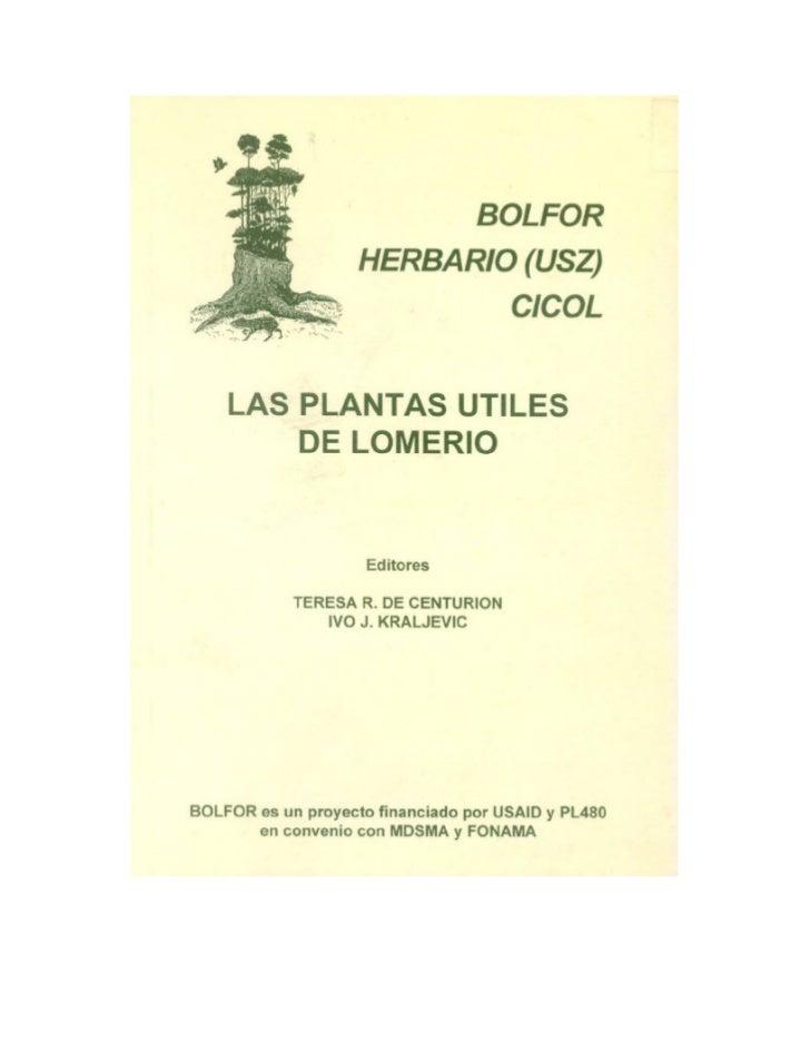 Las plantas útiles de lomerio