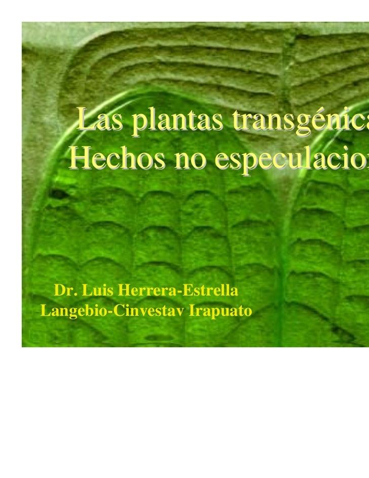Las plantas transgénicas:   Hechos no especulaciones Dr. Luis Herrera-EstrellaLangebio-Cinvestav Irapuato