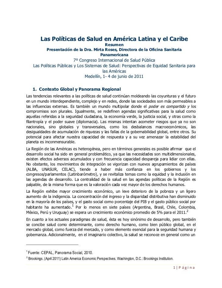 Las Políticas de Salud en América Latina y el Caribe                                              Resumen                P...