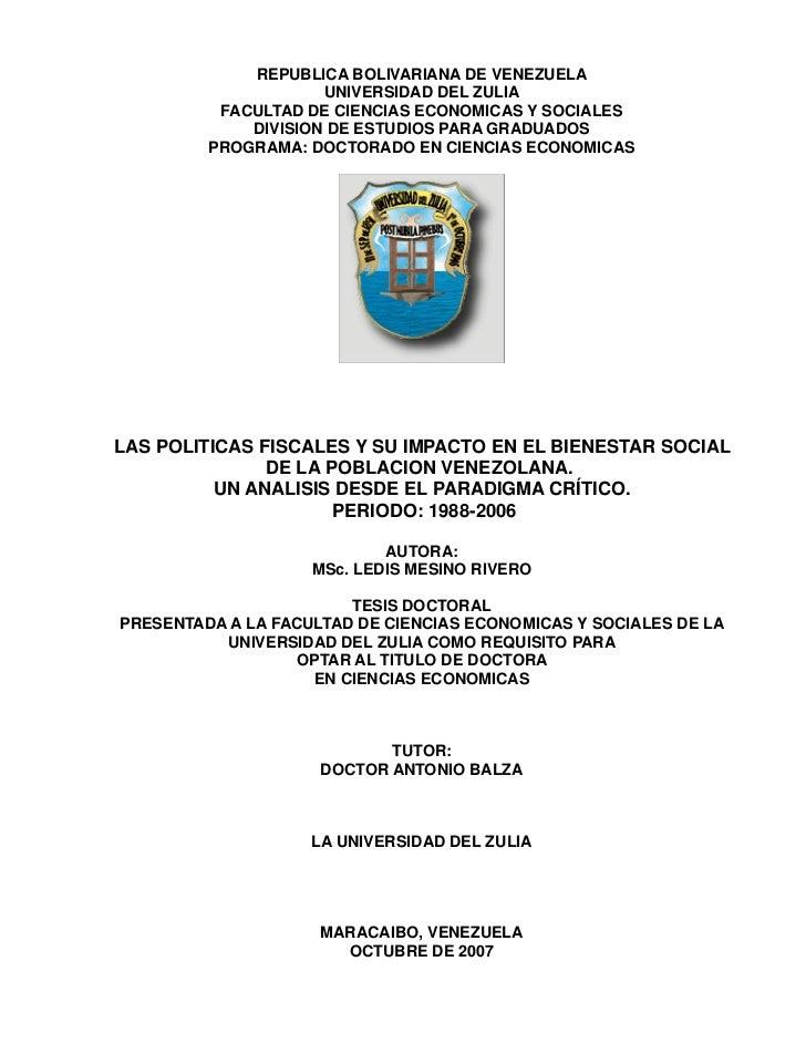 REPUBLICA BOLIVARIANA DE VENEZUELA                     UNIVERSIDAD DEL ZULIA          FACULTAD DE CIENCIAS ECONOMICAS Y SO...