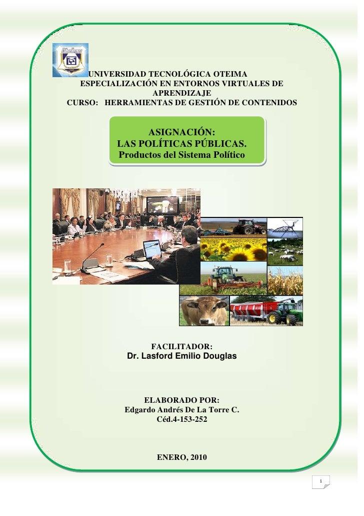 UNIVERSIDAD TECNOLÓGICA OTEIMA<br />ESPECIALIZACIÓN EN ENTORNOS VIRTUALES DE APRENDIZAJE<br />CURSO:   HERRAMIENTAS DE GES...
