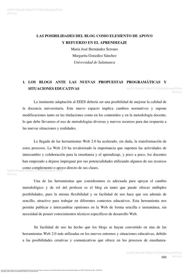 Hernández Serrano, María José. Las posibilidades del blog como elemento de apoyo y refuerzo en el aprendizaje. España: Edi...