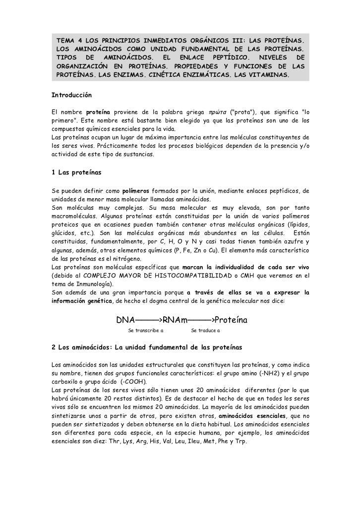 TEMA 4 LOS PRINCIPIOS INMEDIATOS ORGÁNICOS III: LAS PROTEÍNAS. LOS AMINOÁCIDOS COMO UNIDAD FUNDAMENTAL DE LAS PROTEÍNAS. T...