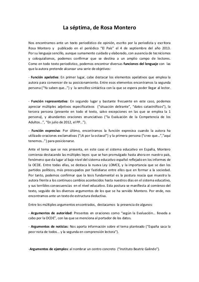 La séptima, de Rosa Montero Nos encontramos ante un texto periodístico de opinión, escrito por la periodista y escritora R...