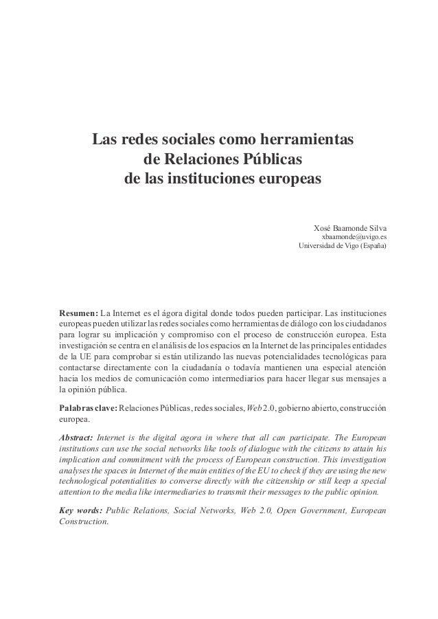 Las redes sociales como herramientas                de Relaciones Públicas             de las instituciones europeas      ...