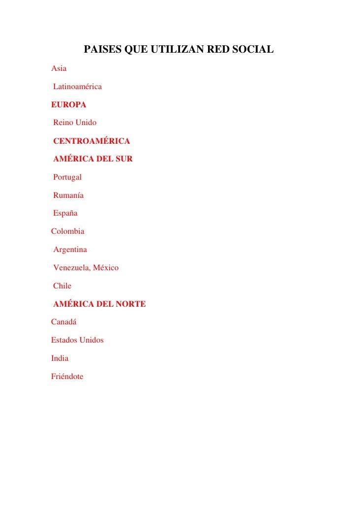 PAISES QUE UTILIZAN RED SOCIAL<br />Asia<br /> Latinoamérica<br />EUROPA<br /> Reino Unido<br /> CENTROAMÉRICA<br /> AMÉRI...