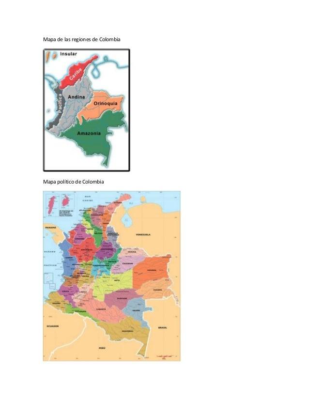 Mapa de las regiones de Colombia Mapa político de Colombia