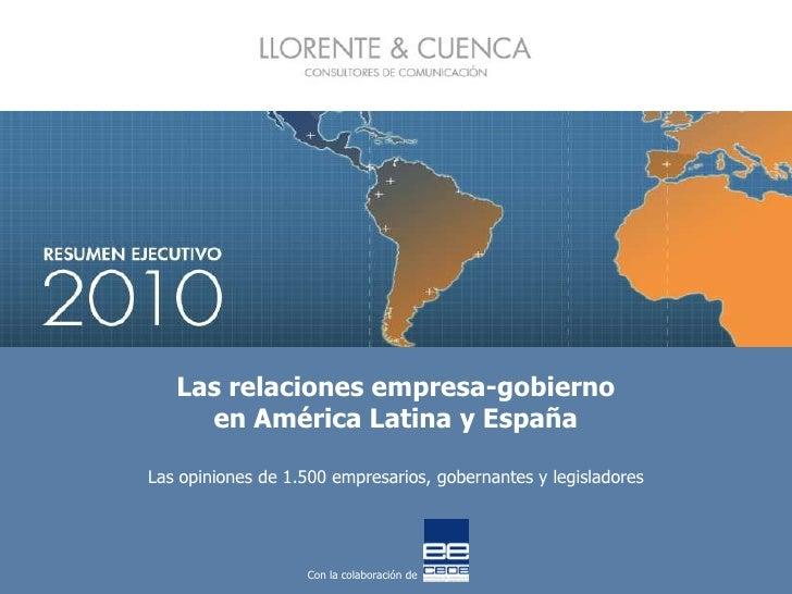 Las relaciones empresa gobierno en américa latina y españa