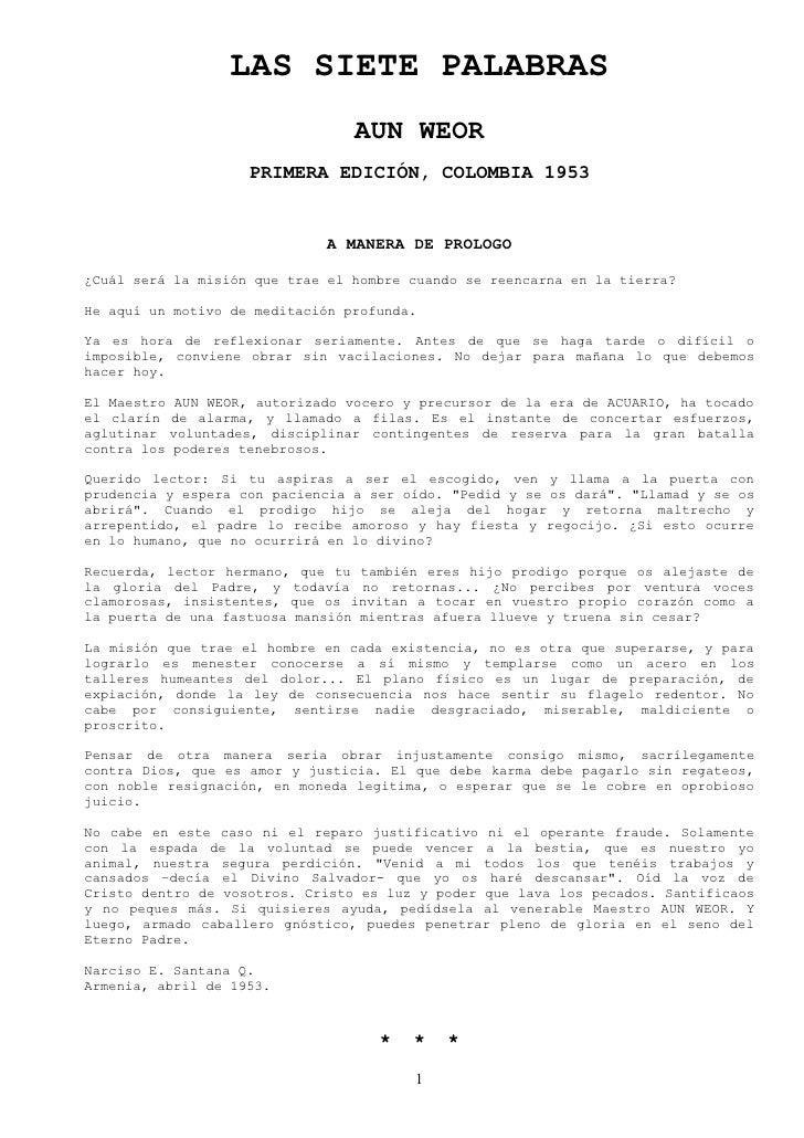 LAS SIETE PALABRAS                                  AUN WEOR                     PRIMERA EDICIÓN, COLOMBIA 1953           ...