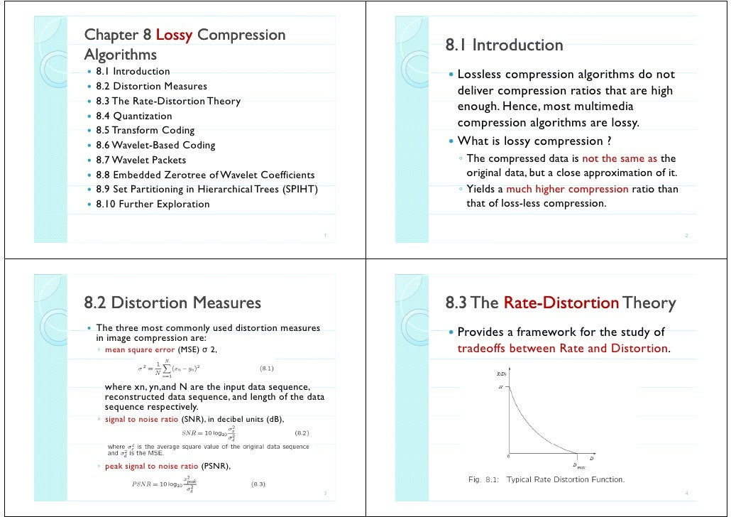 Chapter 8 Lossy Compression                                                            8.1 Introduction                   ...