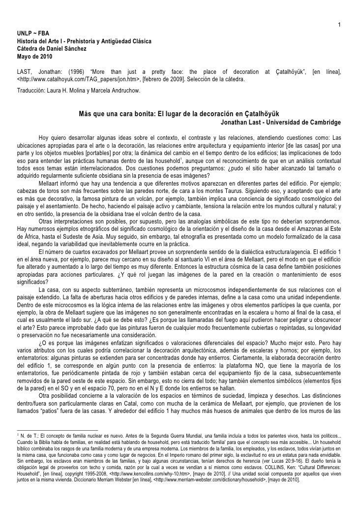 1 UNLP ~ FBA Historia del Arte I - Prehistoria y Antigüedad Clásica Cátedra de Daniel Sánchez Mayo de 2010  LAST, Jonathan...