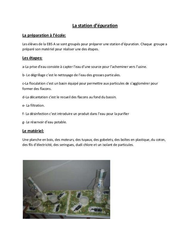 La station d'épurationLa préparation à l'école:Les élèves de la EB5 A se sont groupés pour préparer une station d'épuratio...