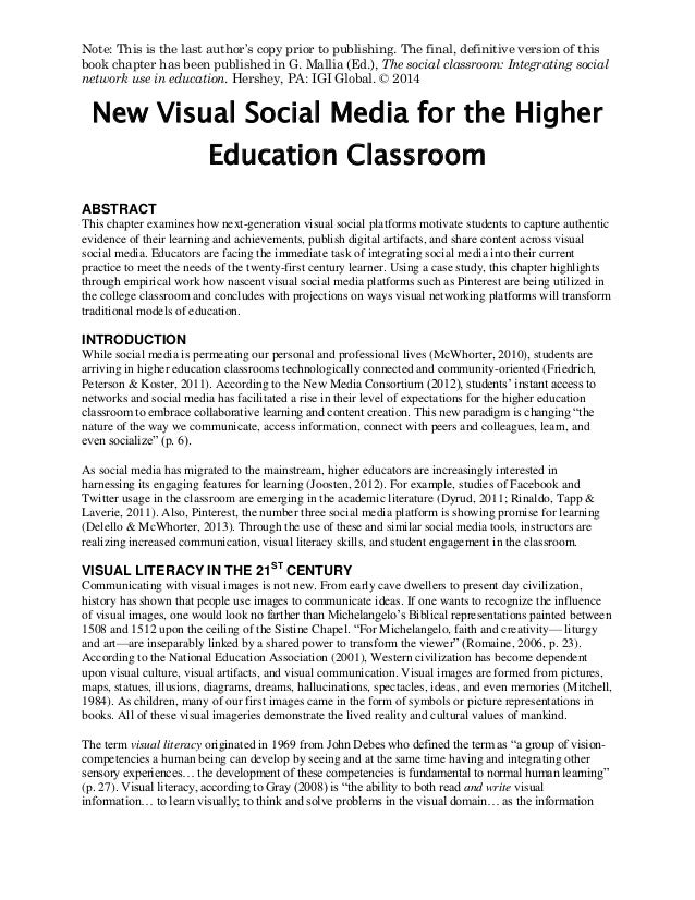 New Visual Social Media for the Higher Education Classroom