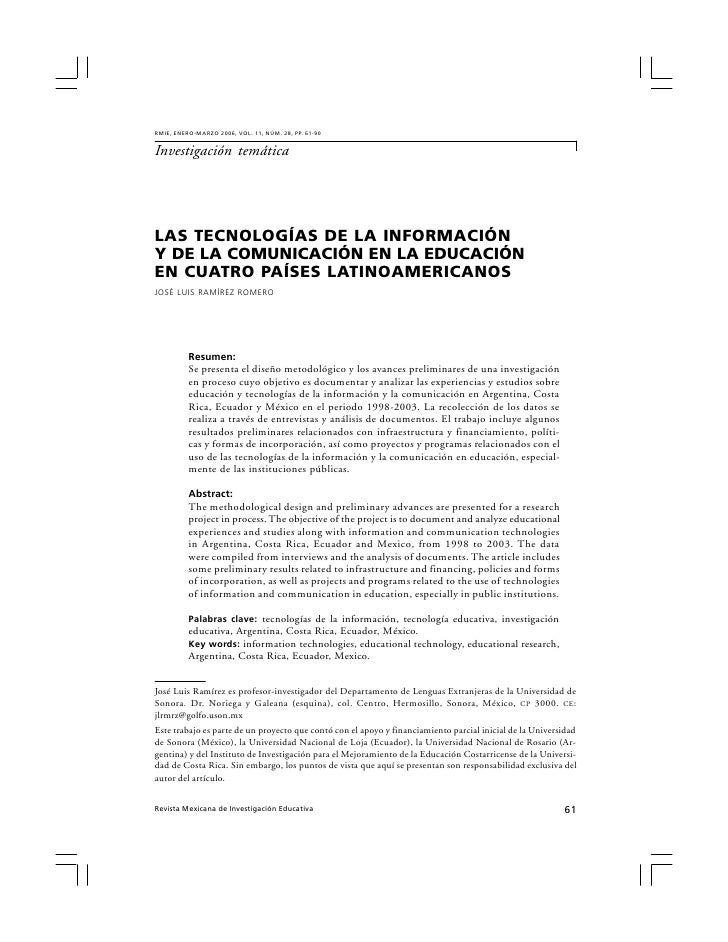 RMIE, ENERO-MARZO 2006, VOL. 11, NÚM. 28, PP. 61-90   Investigación temática     LAS TECNOLOGÍAS DE LA INFORMACIÓN Y DE LA...