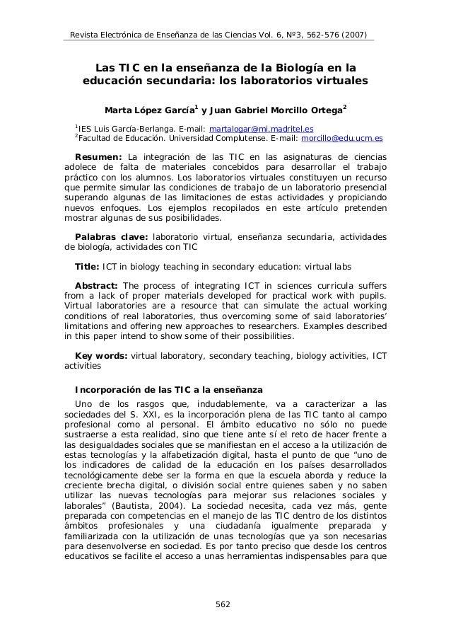 Revista Electrónica de Enseñanza de las Ciencias Vol. 6, Nº3, 562-576 (2007)         Las TIC en la enseñanza de la Biologí...