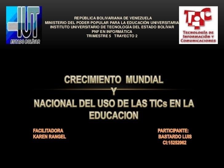 REPÚBLICA BOLIVARIANA DE VENEZUELAMINISTERIO DEL PODER POPULAR PARA LA EDUCACIÓN UNIVERSITARIA  INSTITUTO UNIVERSITARIO DE...