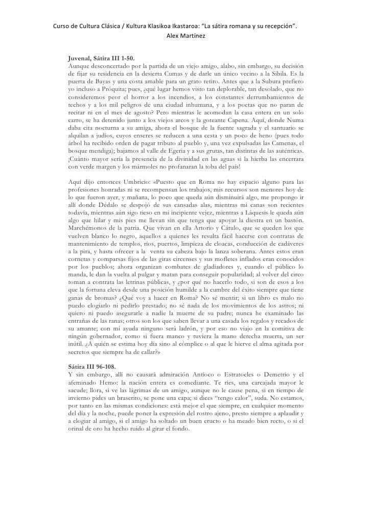 """Curso de Cultura Clásica / Kultura Klasikoa Ikastaroa: """"La sátira romana y su recepción"""".                                 ..."""