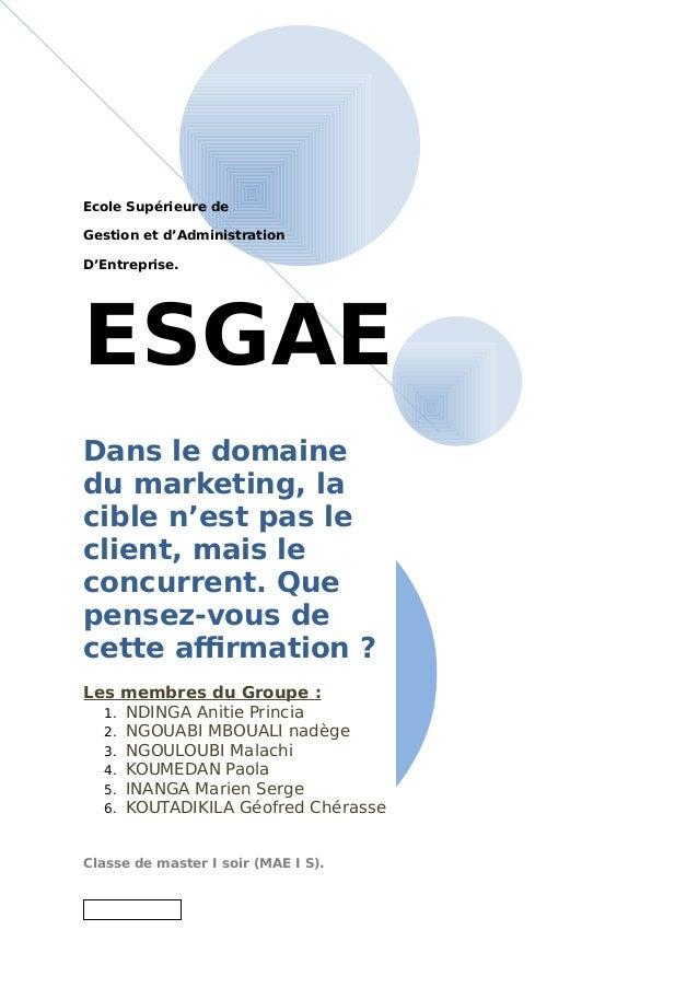 Ecole Supérieure de Gestion et d'Administration D'Entreprise. ESGAE Dans le domaine du marketing, la cible n'est pas le cl...