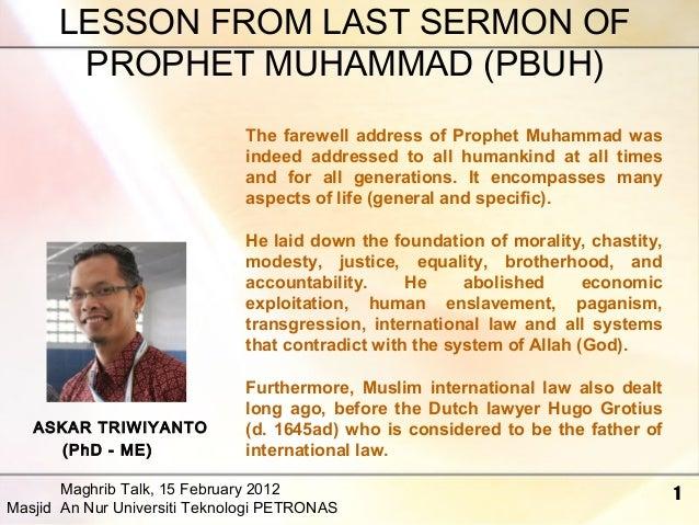 The Last Sermon of Prophet Muhammad Saw Last Sermon Muhammad Pbuh