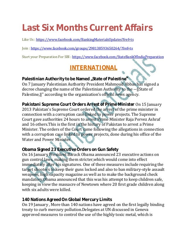 Last Six Months Current Affairs Like Us : https://www.facebook.com/BankingMaterialsUpdates?fref=ts Join : https://www.face...