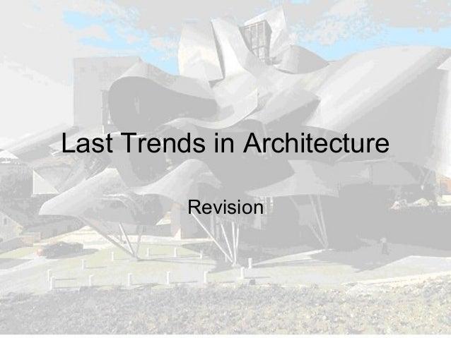 Last trends in architecture (new)
