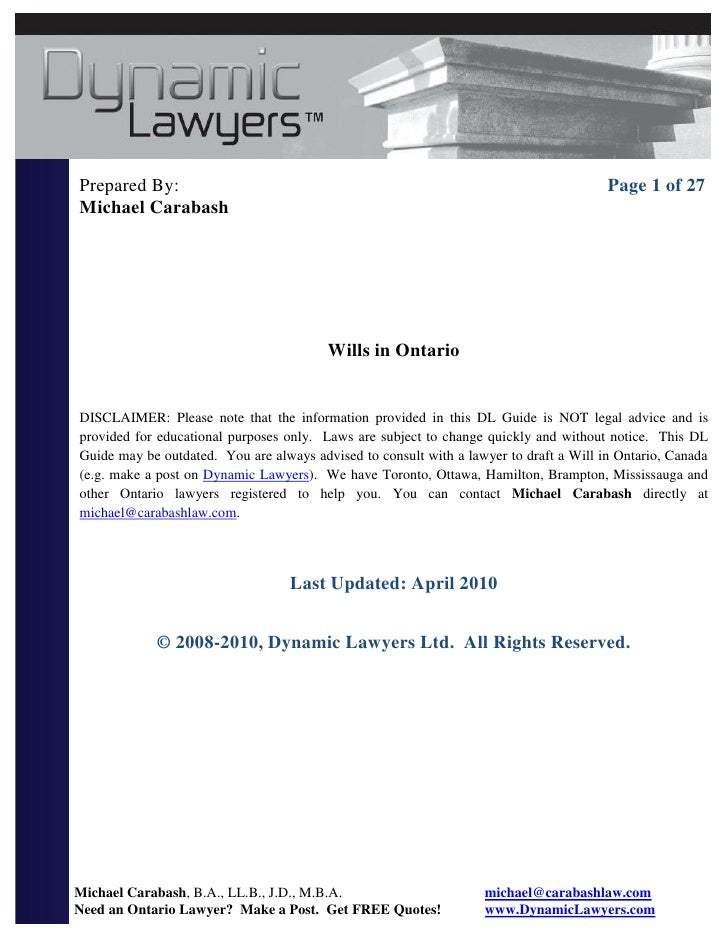 Last will and testament ontario