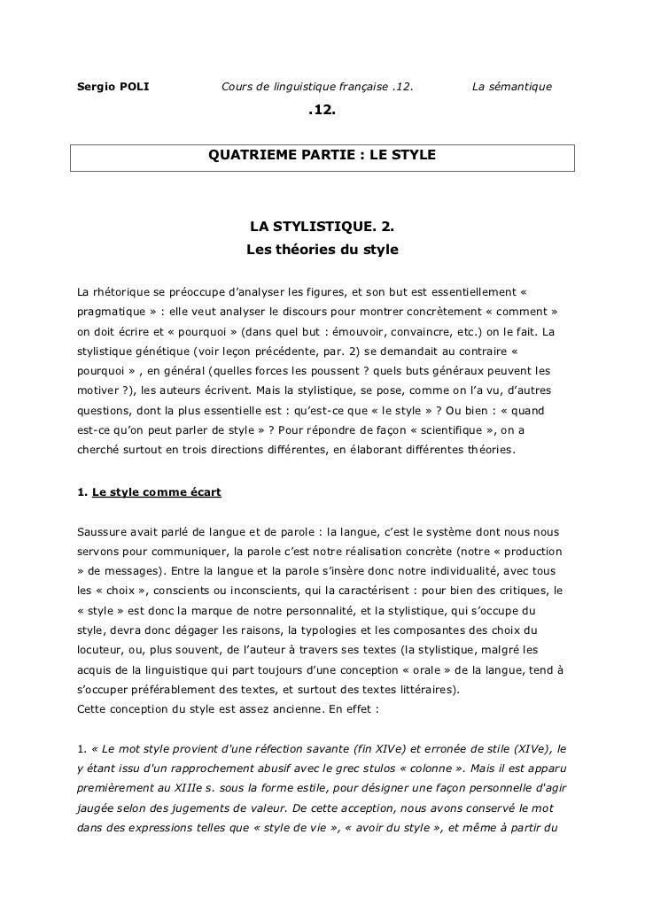 Sergio POLI                Cours de linguistique française .12.            La sémantique                                  ...